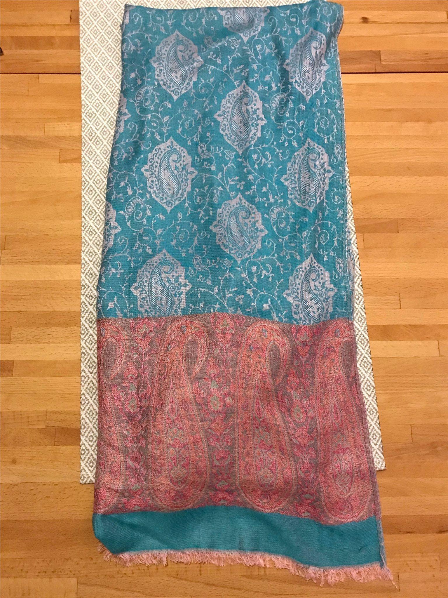 Vacker sjal   halsduk - turkos   rosa   vitt (337842044) ᐈ Köp på ... d6d8a71671918