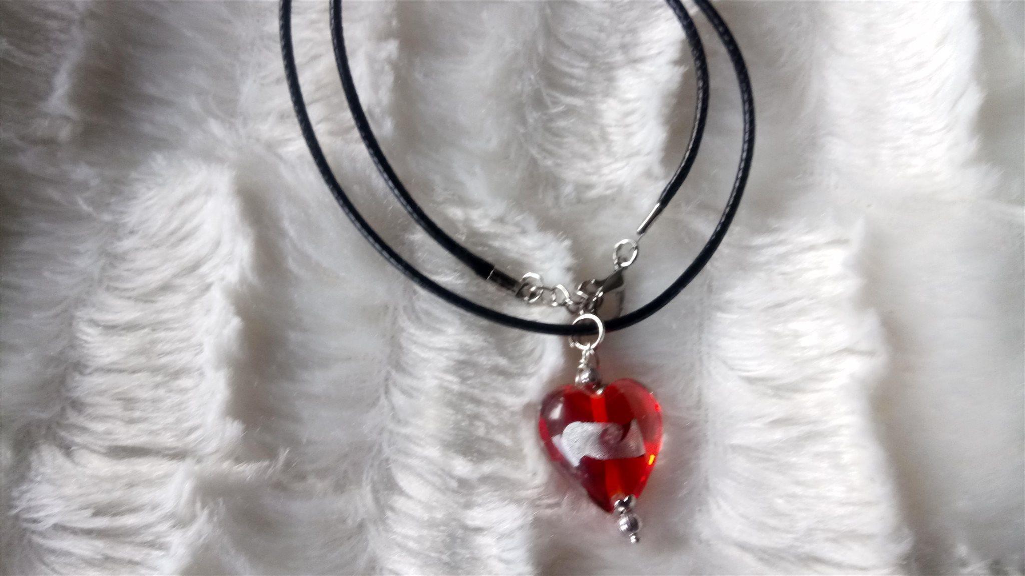 Halsband i Svart läderhalsband med Röd hjärta .. (342687959) ᐈ Köp ... ebb4434dd0b73