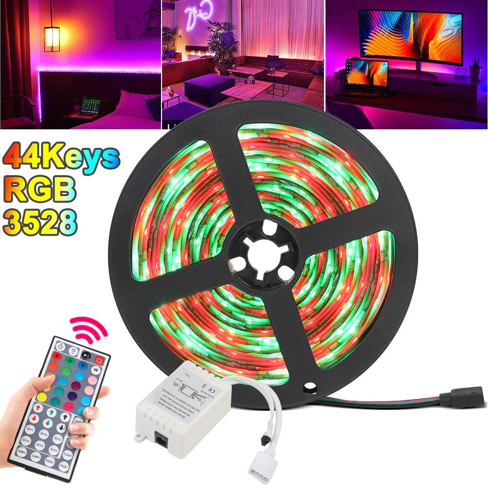LED Strip Light RGB SMD 3528 Flexible Ribbon, with 44 Keys Remote Controller