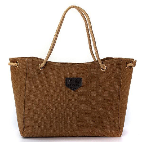 Shoppingbag Handväska Canvas Khaki/Ljusbrun