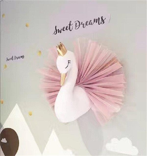 Söt 3D Swan Barnrum vägg hänge dekoration rosa