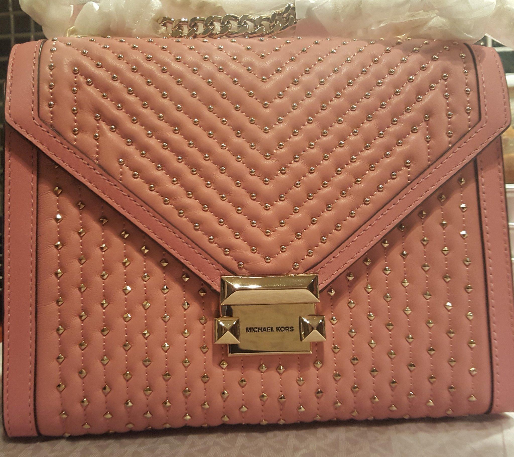 3900: NY äkta skinn Michael Kors MK guld kedja nitar väska läder rosa