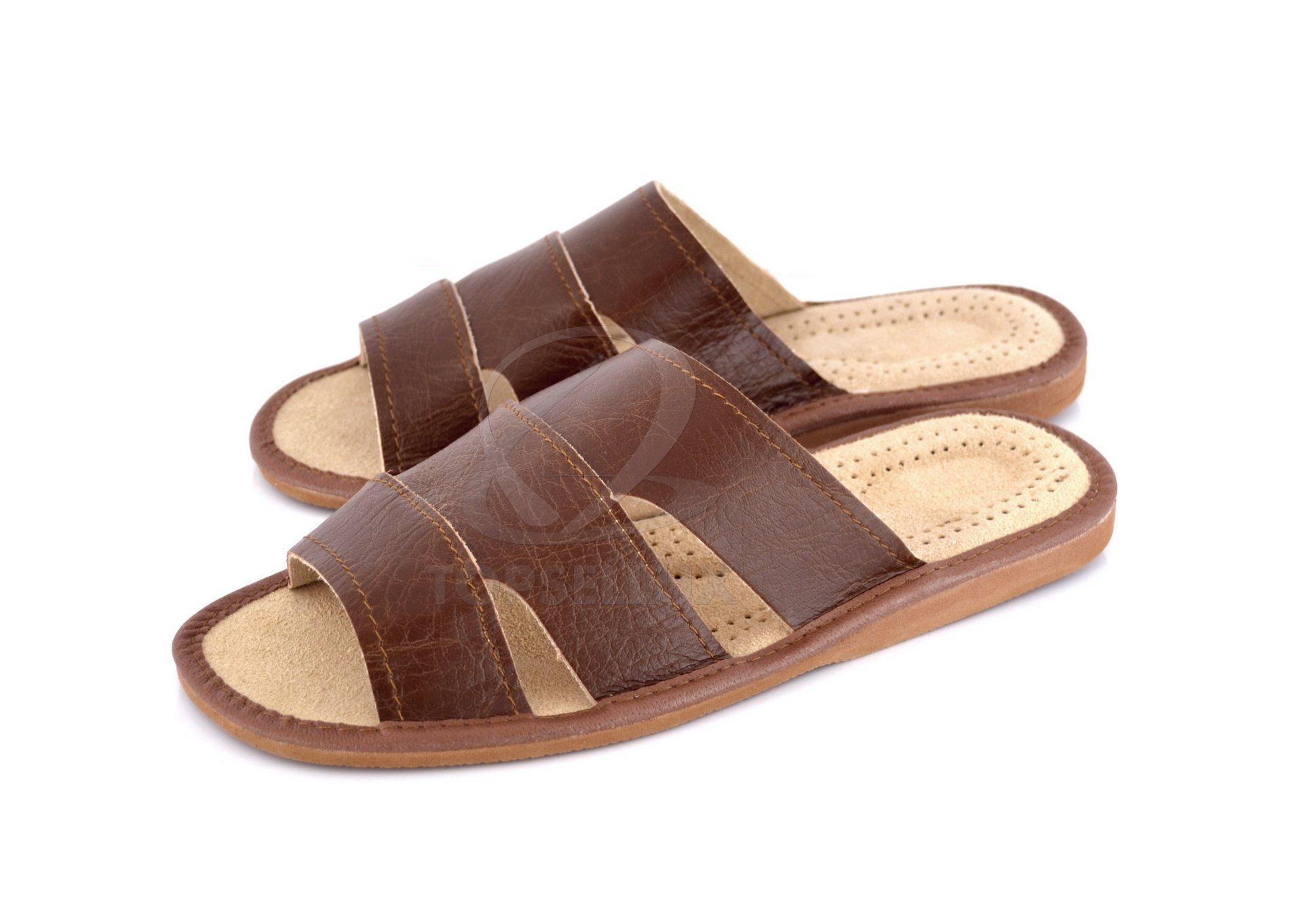 242cd00fbc2 Nya Present tofflor i mjukt läder herr inneskor bruna herr Sandaler skor  Stl 43 ...