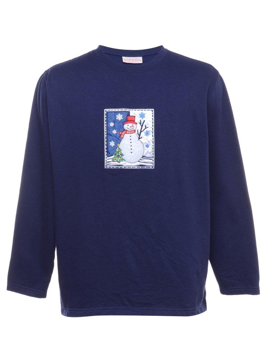 Extremely soft light blue  vintage 1990s Christmas winter crewneck  sweatshirt.