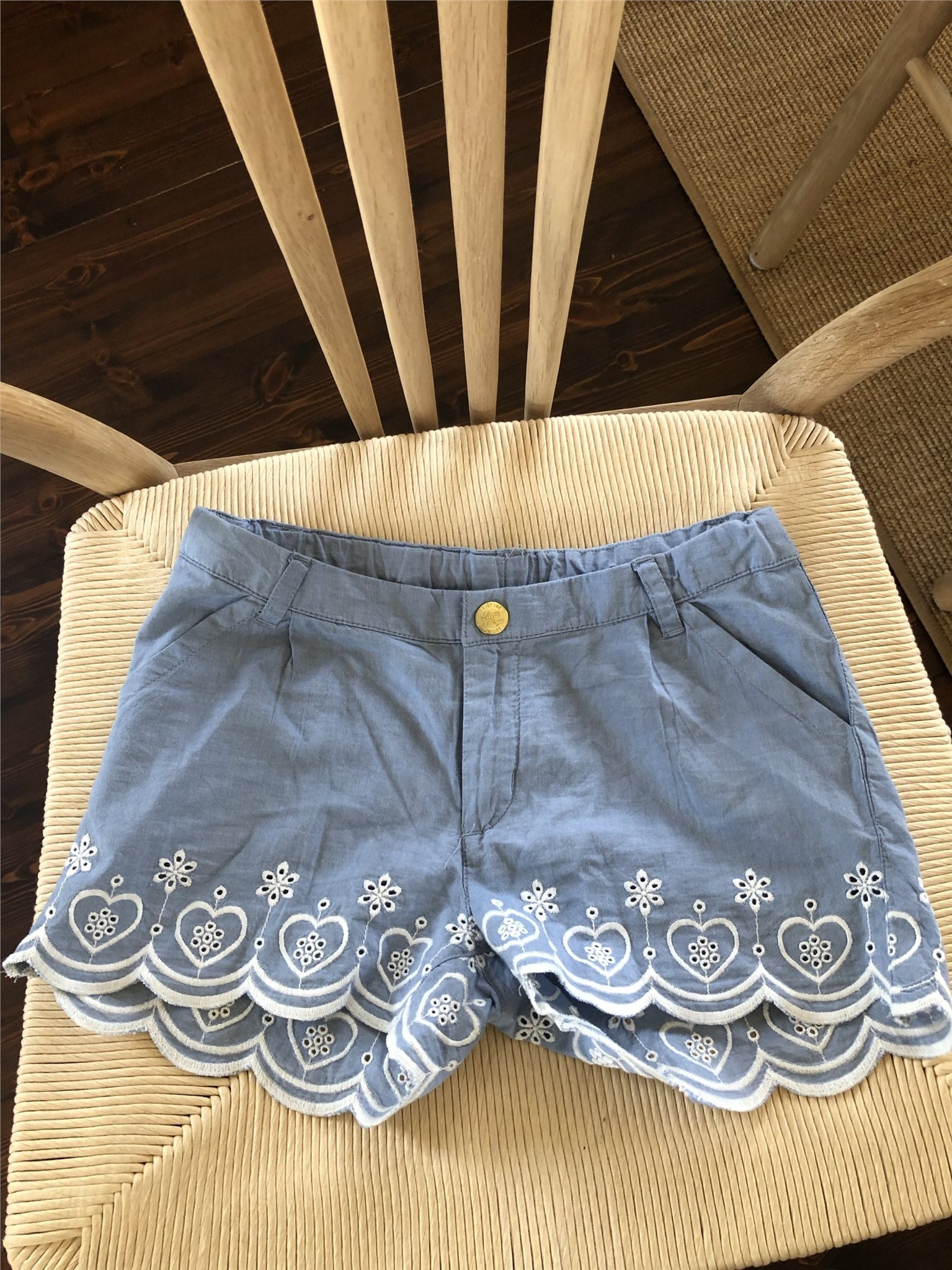 3f923bf5 Shorts barn, blå med vit detalj, strl 134 (344588612) ᐈ Köp på Tradera