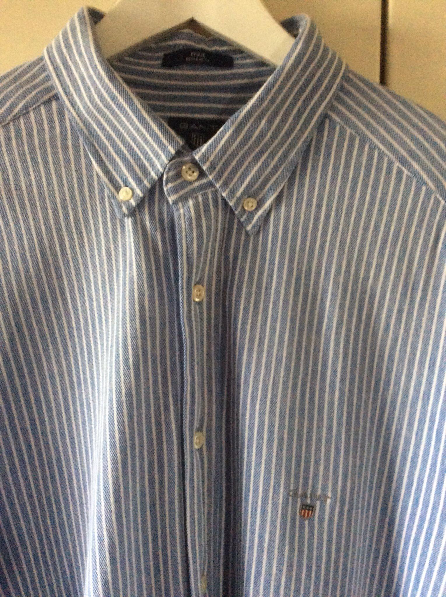 Skjorta Blå vit randig GANT pique regular fit XL 43/44