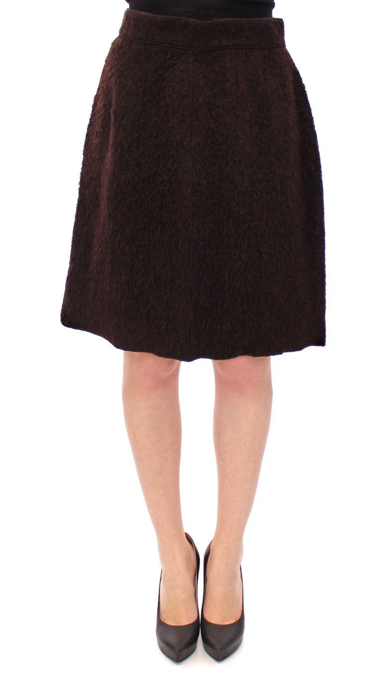 Dolce & Gabbana - Brown Fur Above Knee Zipper Skirt