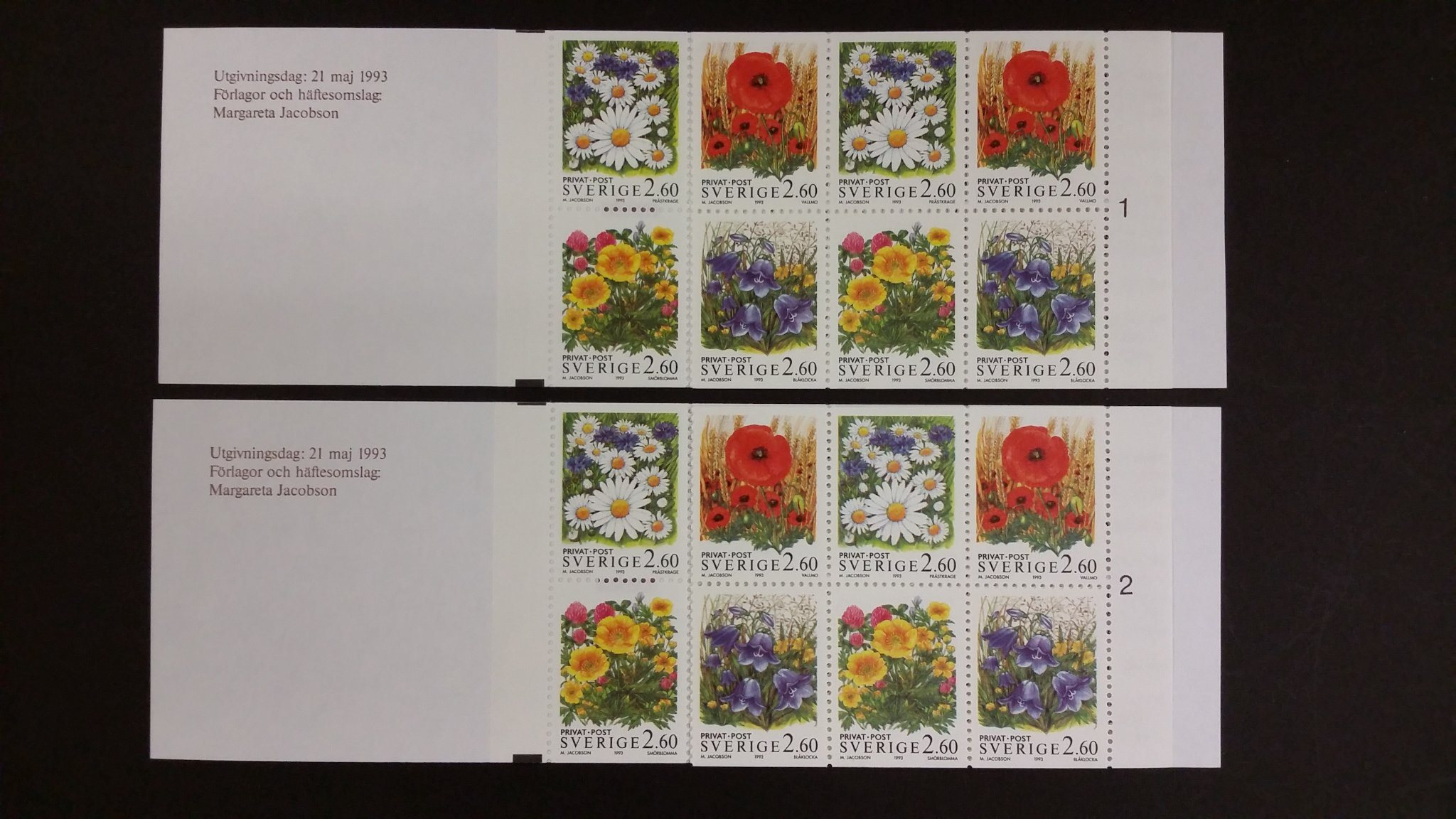H 436 H436 Sommar - Blommor 1993 DUBBEL x2 hafte cyl1 cyls 2 + RT