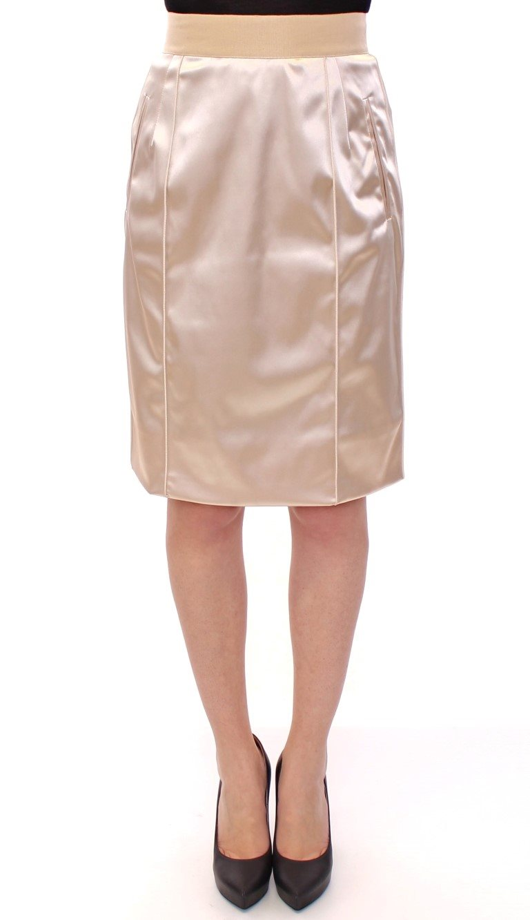 Dolce & Gabbana - Beige Silk Above Knees Pencil Skirt