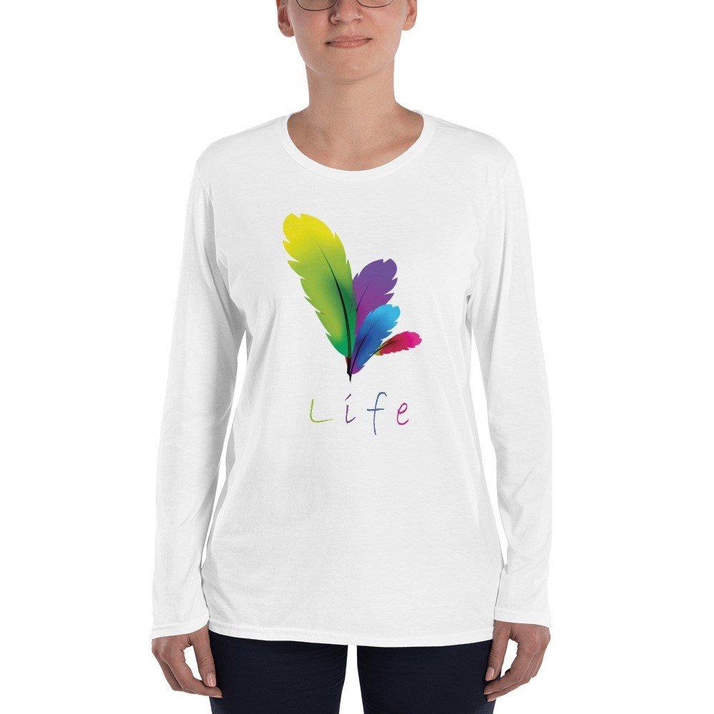 Långärmad Dam T-shirt, Vit stl. XXL