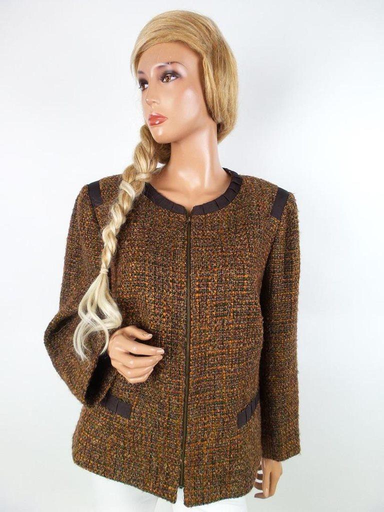 Jones New York storlek 16 (44) Akryl brun jacka mönster SAMFRAKT