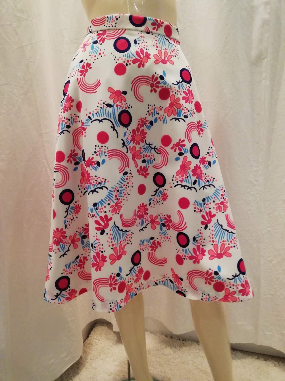 ea855a0cc50b Vintage retro kjol klockad syntet rosa ljusblå blommor flieselineunderkjol  ...