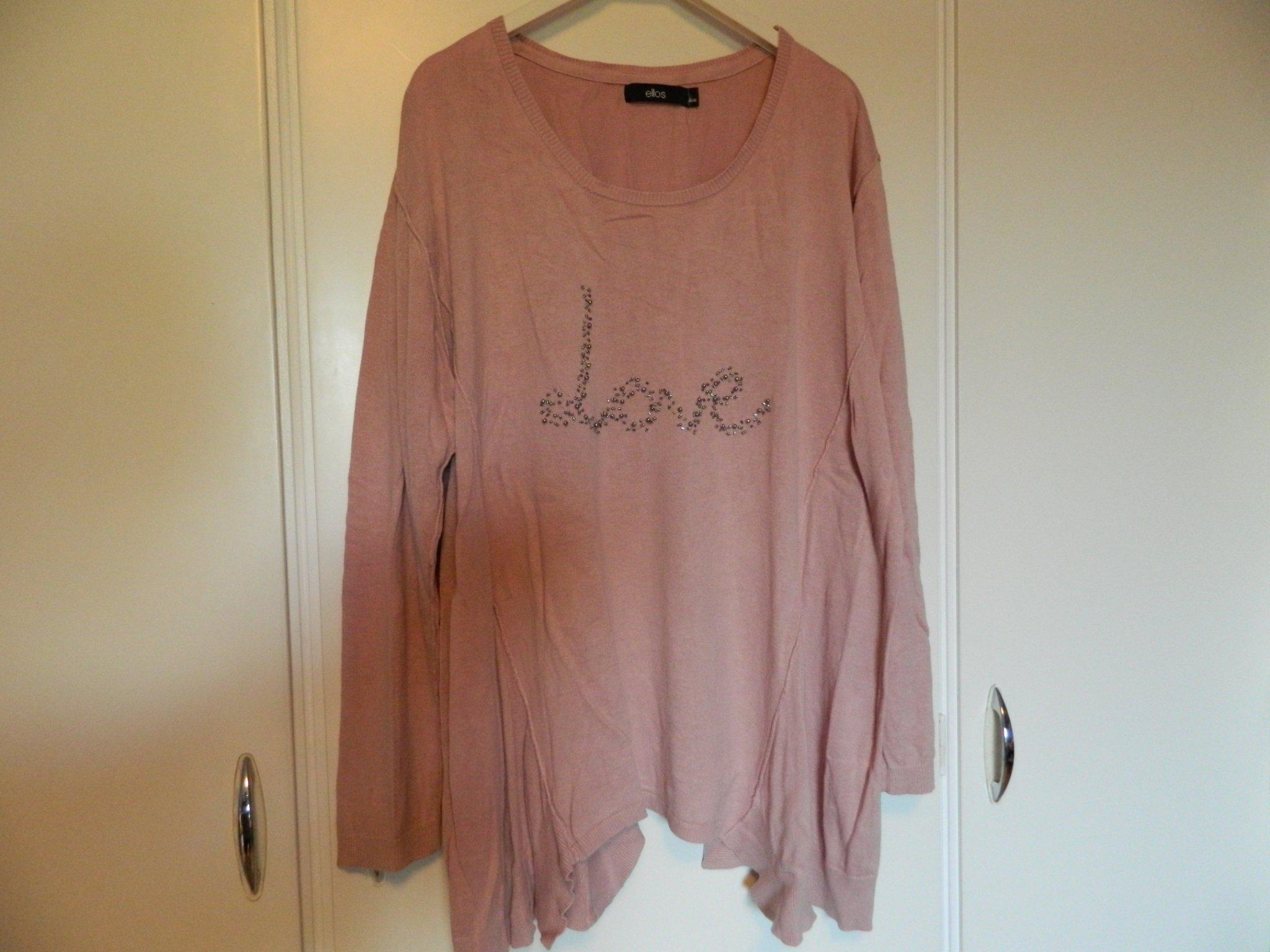 Stor finstickad tröja, gammalrosa, pärlbroderi ,strl 5052 Ellos