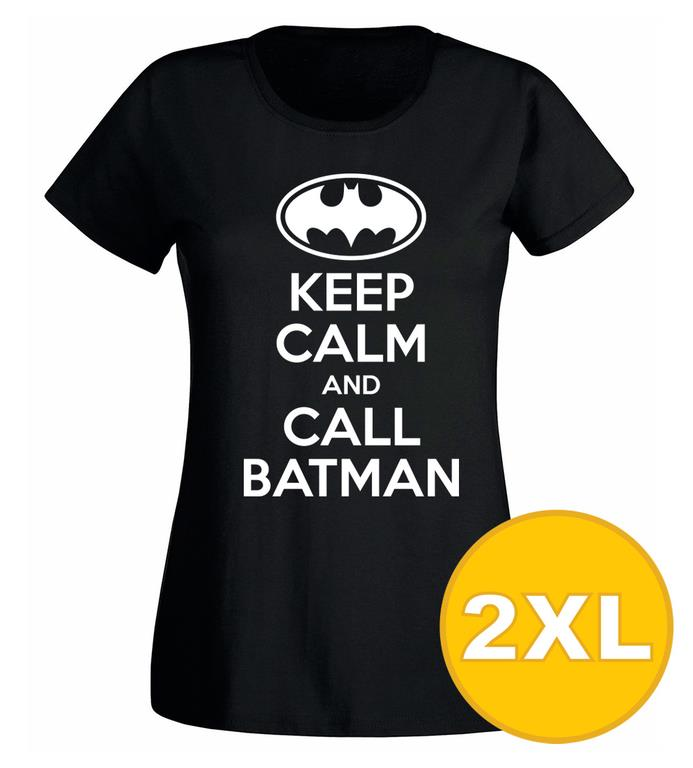 T-shirt Keep Calm Call Batman Svart Dam tshirt XXL