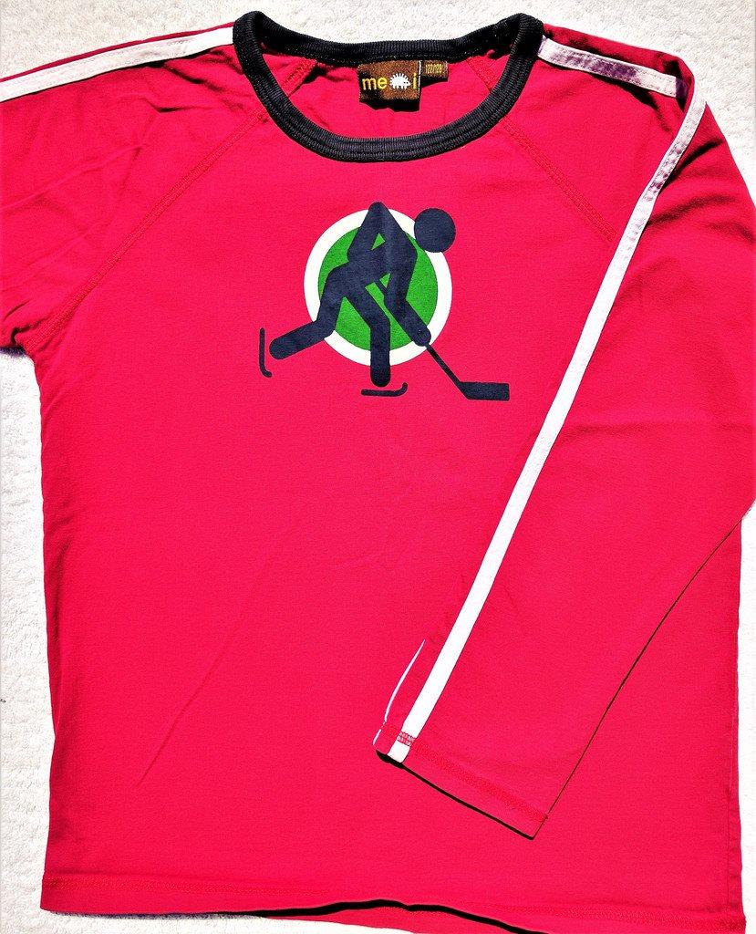 Långärmad t shirt tröja röd hockey bomull me & i me&i meandi 122128