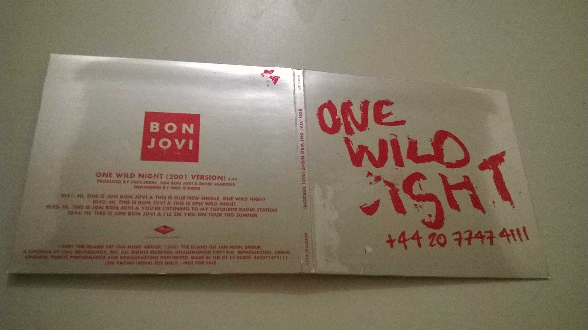 Bon Jovi - One Wild Night ( 2001 version ) CD, promo