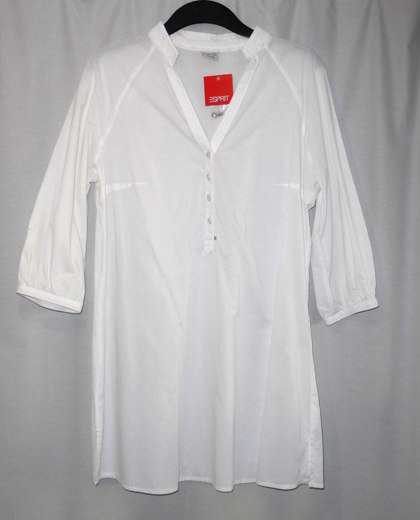 ESPRIT Stl  L Lång skjorta vit blus metallknap.. (338400842) ᐈ Köp ... b485fa08adf58