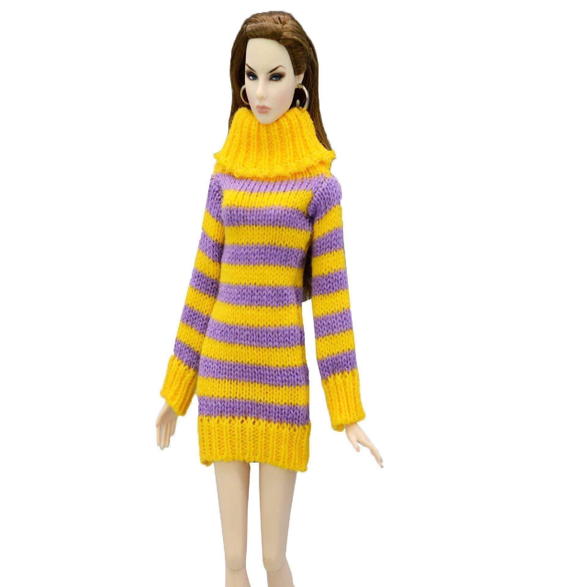 Stickad Tröja BarbieKlänning med skor och väska passande Barbie Barbiekläder