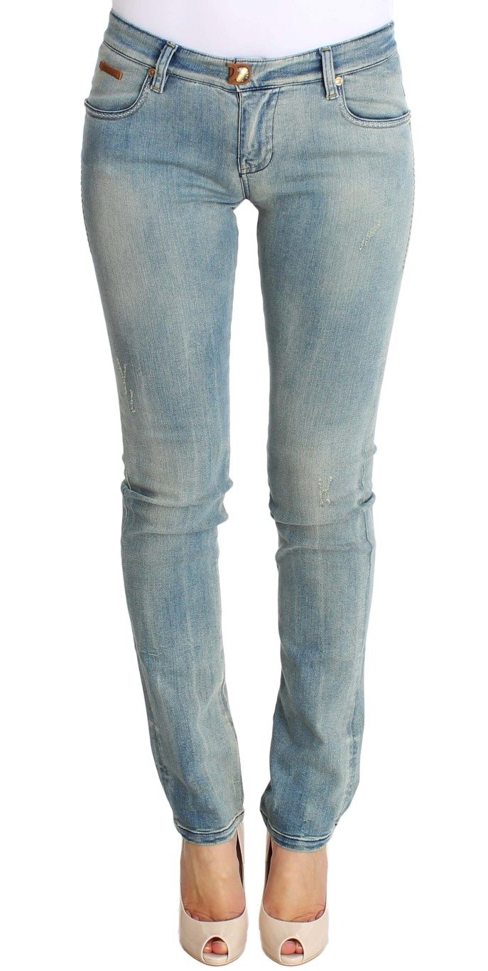 PLEIN SUD - Blue Wash Cotton Stretch Skinny Slim Tight Fit Jeans