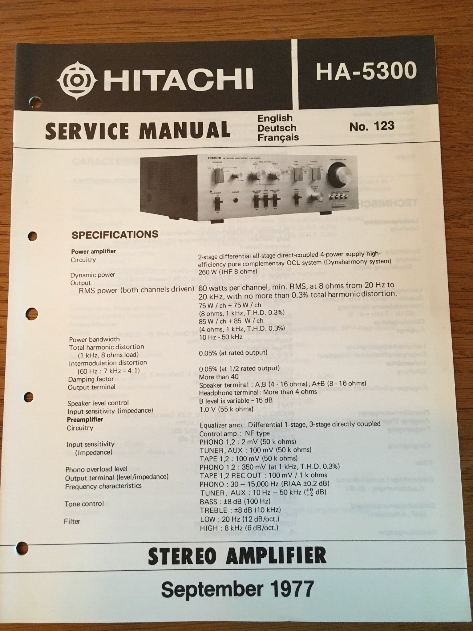 Service Manual Hitachi HA-5300