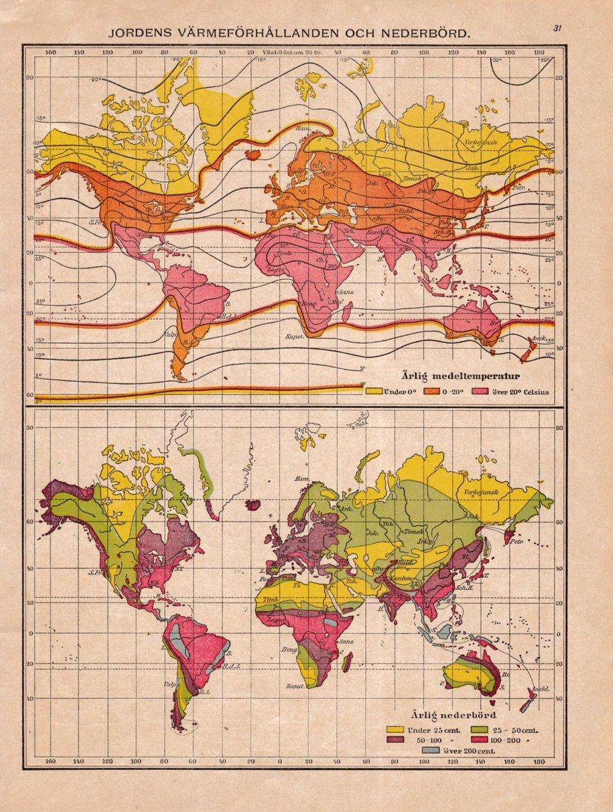 Karta Over Jordens Varmeforhallanden Fran 1920 376931518 ᐈ Kop
