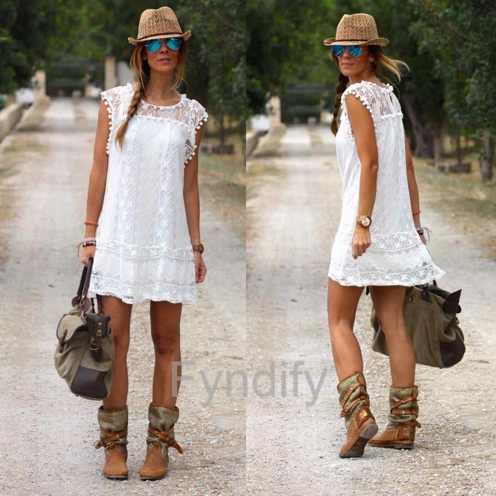 Spetsklänning Sundress Vit 5XL
