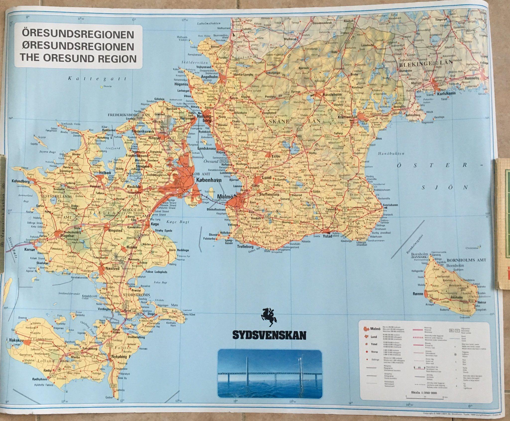 Karta Skane Och Danmark.Karta Norden Danmark Skane Sydsvenskan 342734169 ᐈ Kop Pa Tradera