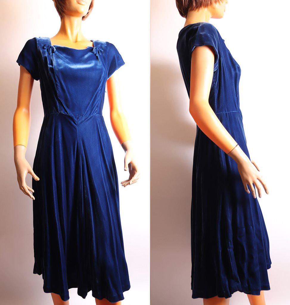 vintage KLÄNNING retro sammetsklänning ca 50-tal   S   Plysch siden sammet  Blå 3e8279d226dc8