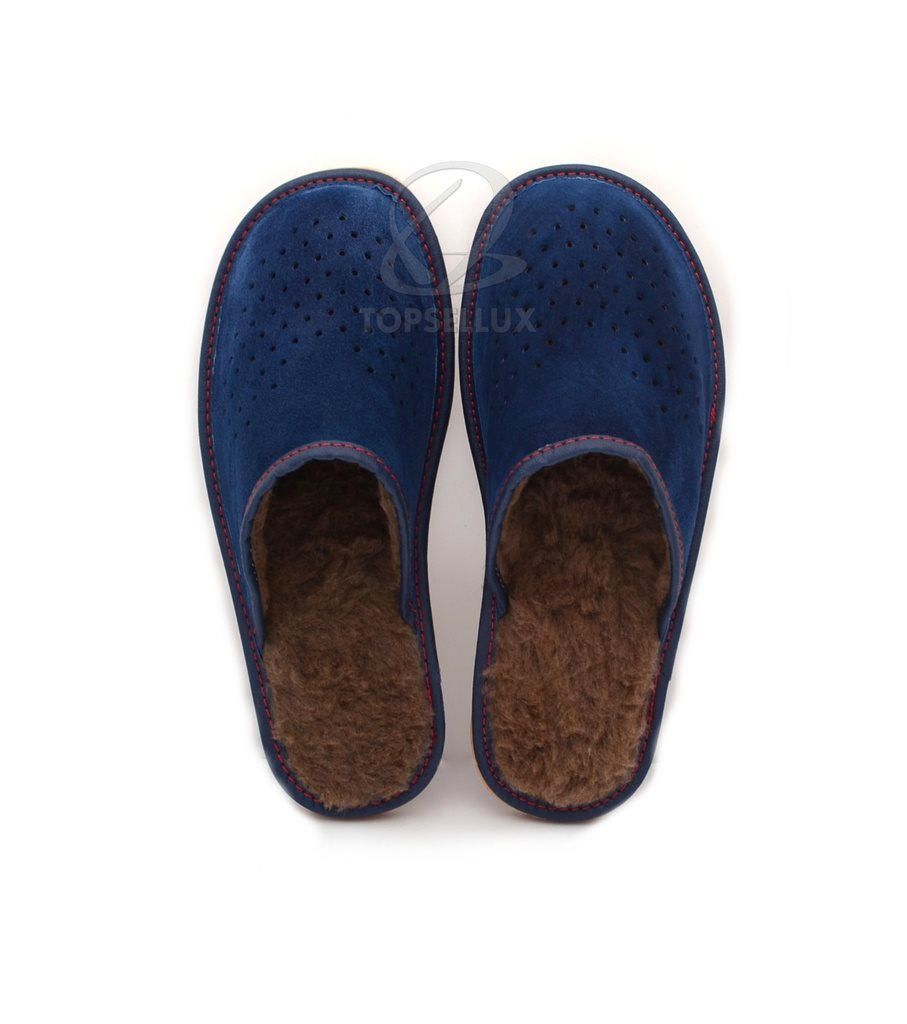 22837faca15 Nya mjuk ylle lammskinn läder inneskor herr blå brun ull tofflor skor stl  46 ...