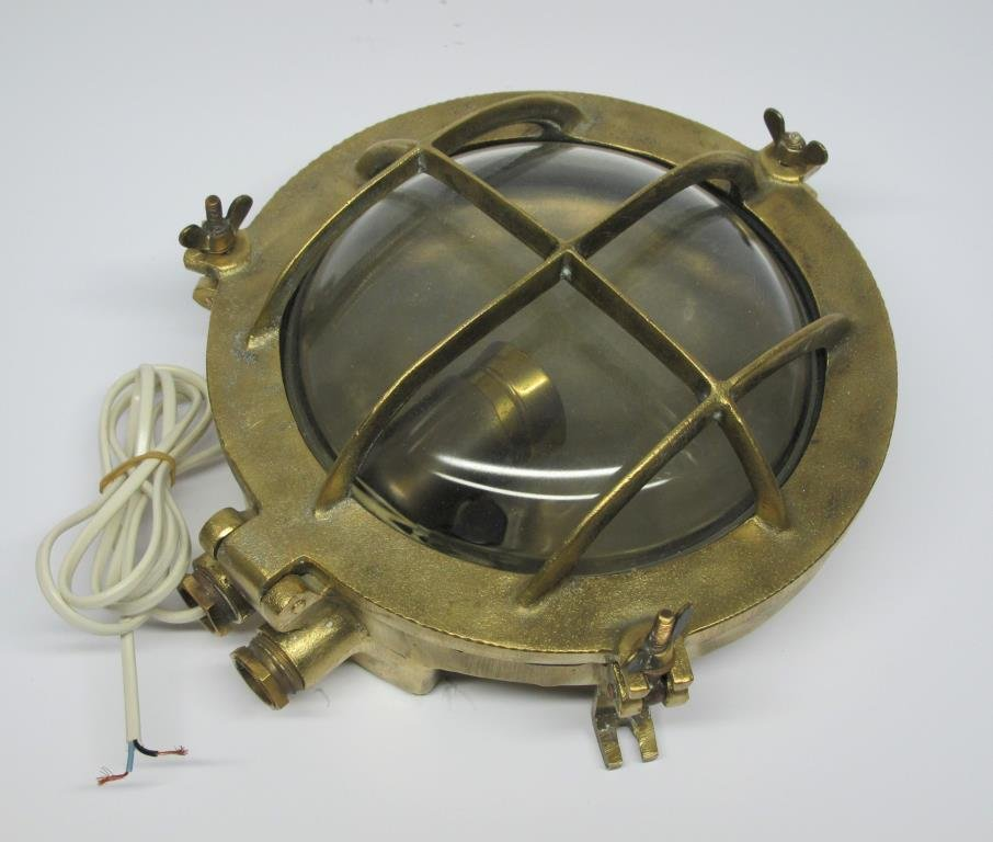 ÄKTA FARTYGSLAMPA skeppslampa gallerlampa marin äldre lampa i mässing och glas