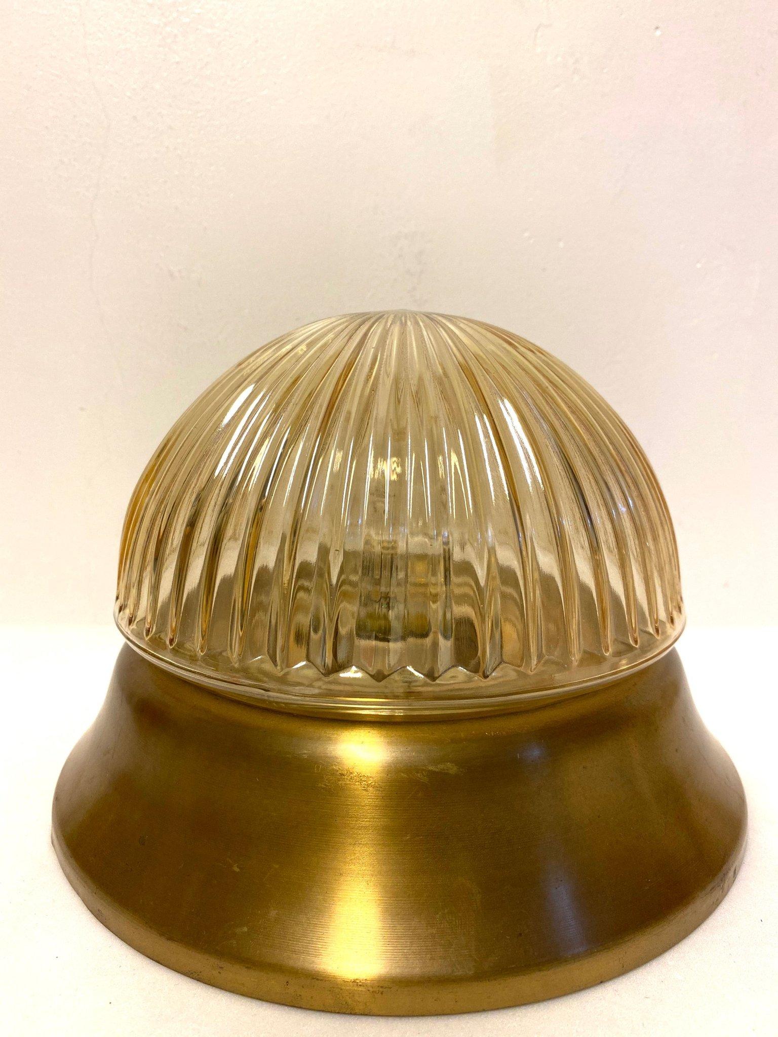 Retro plafond lampa i mässing och glas