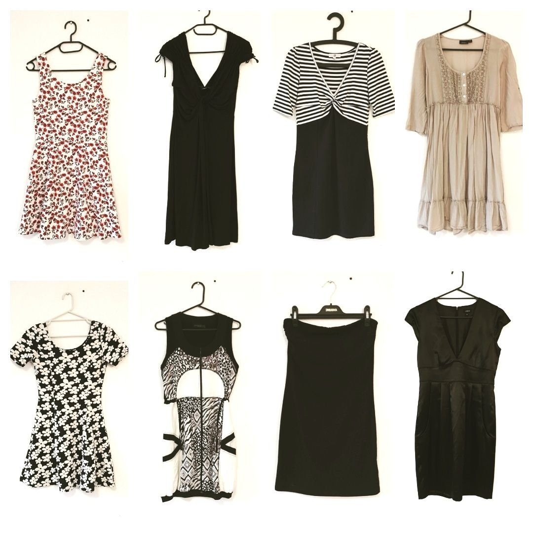 38b0b33cae5e Klädpaket S klänningar svart vit blommig röd blå randig Rocka Billy nya  kläder!