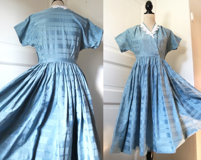 77bf191233dd Blå 50 tals klänning. Rockabilly-klänningar