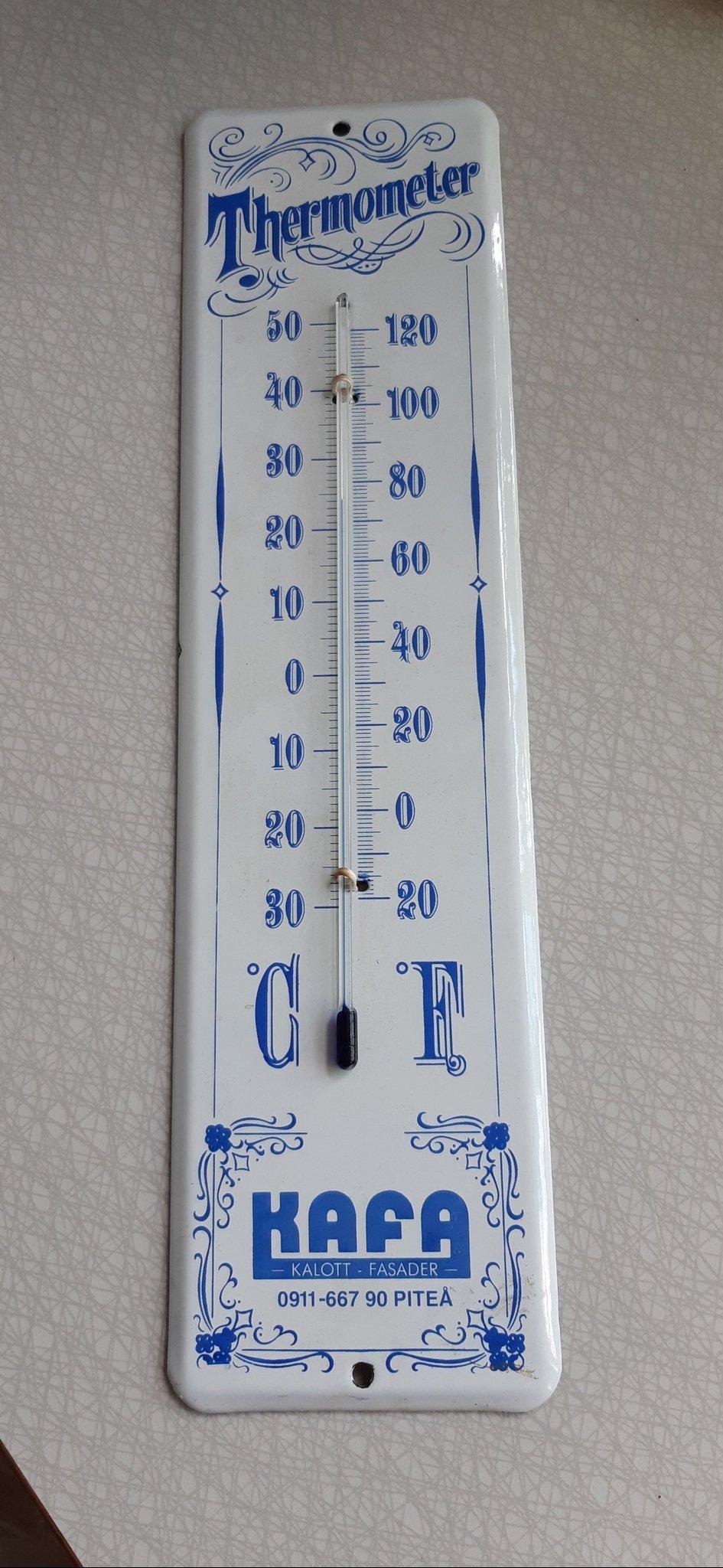 Äldre Termometer i Emalj . Stor 34 x 9 cm