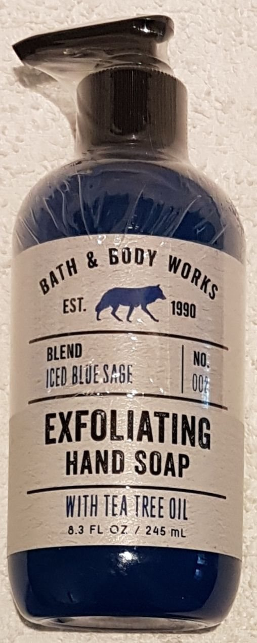 ICED BLUE SAGE Bath & Body Works Exfoliating Hand Soap Tea tree oil USA tvål