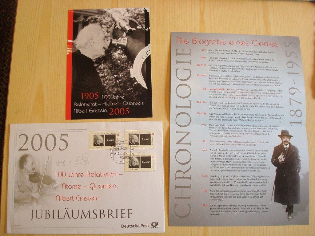 Albert Einstein 2005 Tyskland Jubileum förstadagsbrev + maximikort + etcetera
