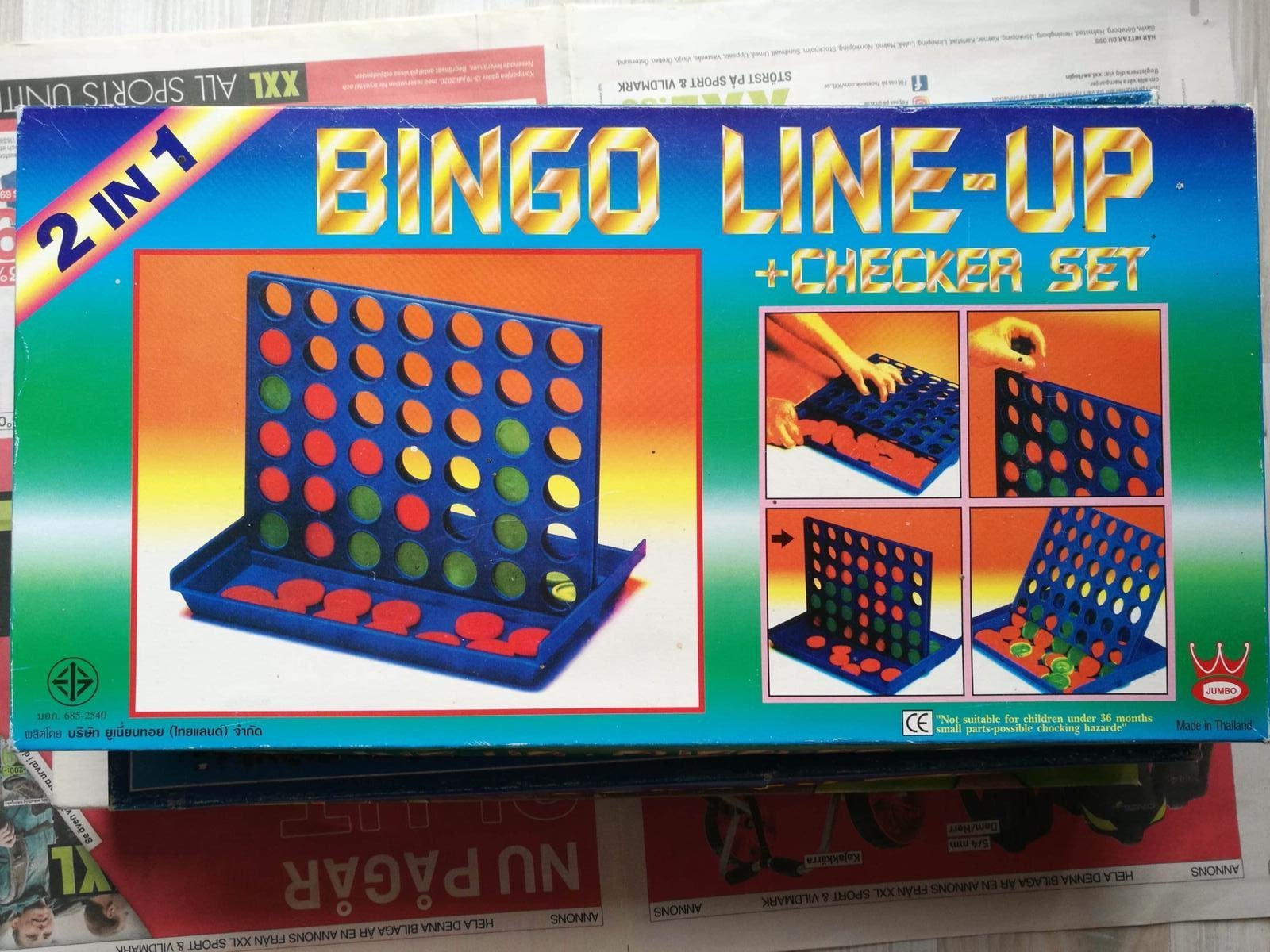 BINGO LINE UP CHECKER SET 2 i 1 JUMBO 4 I RAD SÄLLSKAPSSPEL SPEL