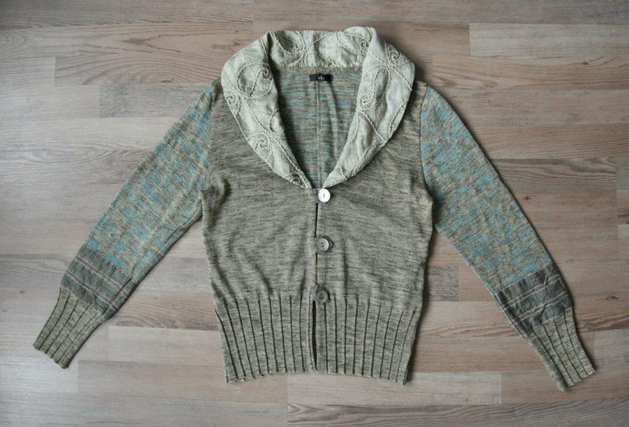 915203f128c Kello kofta tröja linne blend stickad linen patchwork boho hippie 40 M L ...