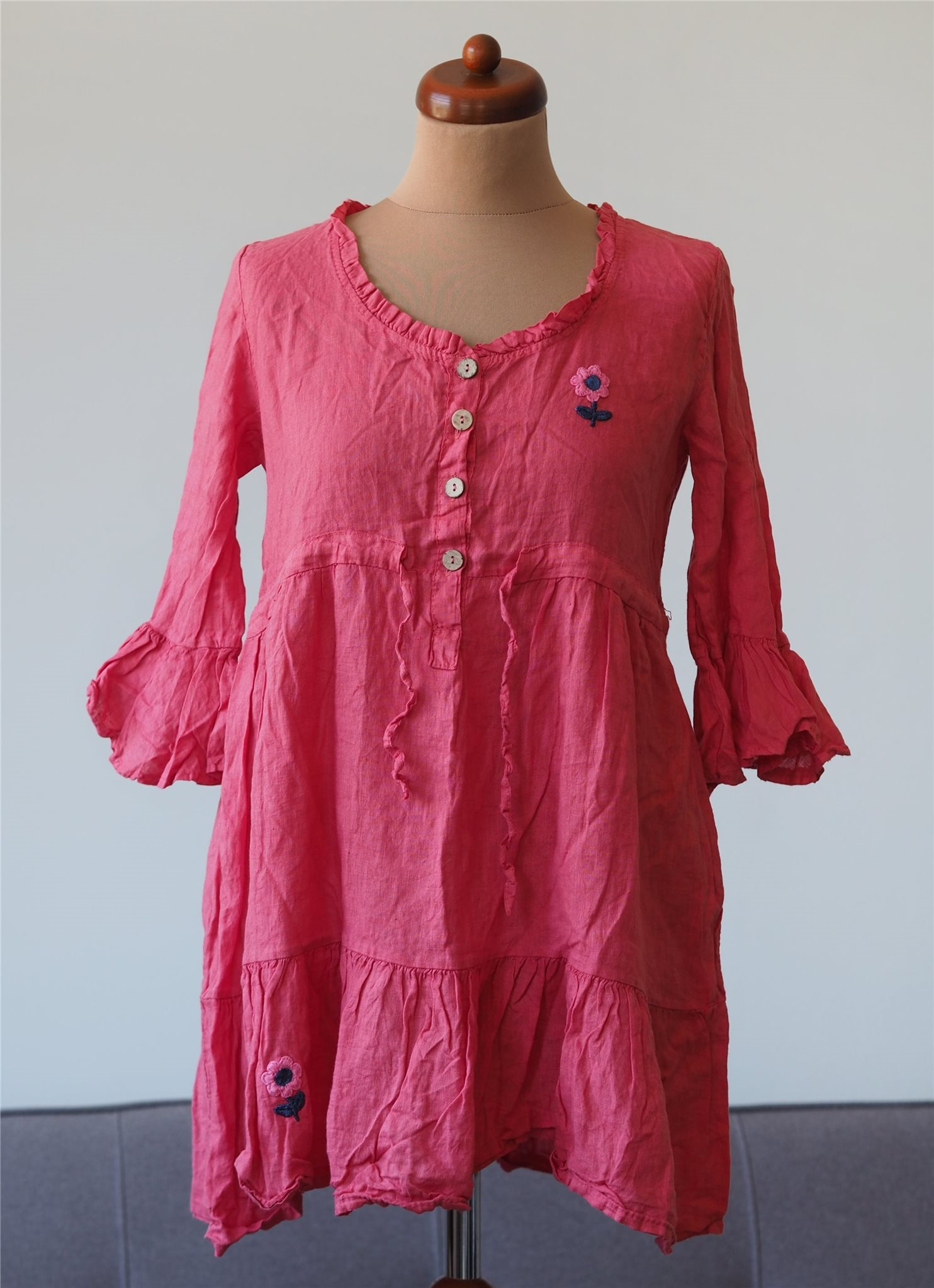 Italienska linne tunika blus linen boho boheme hippie retro romantisk Italy  M L 0e6788682ea7d