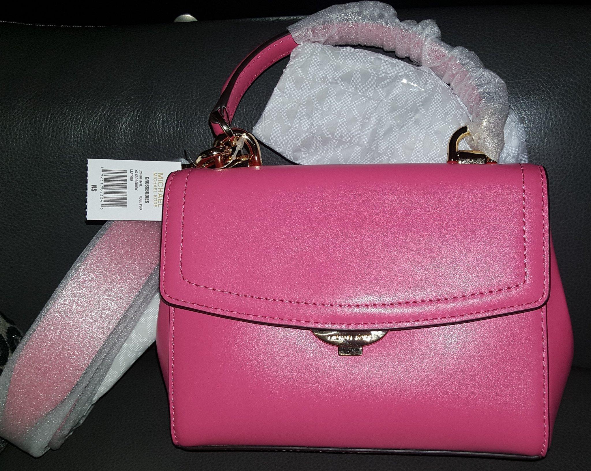 2300: NY guld äkta Michael Kors läder crossbody MK rosa skinn väska crossover