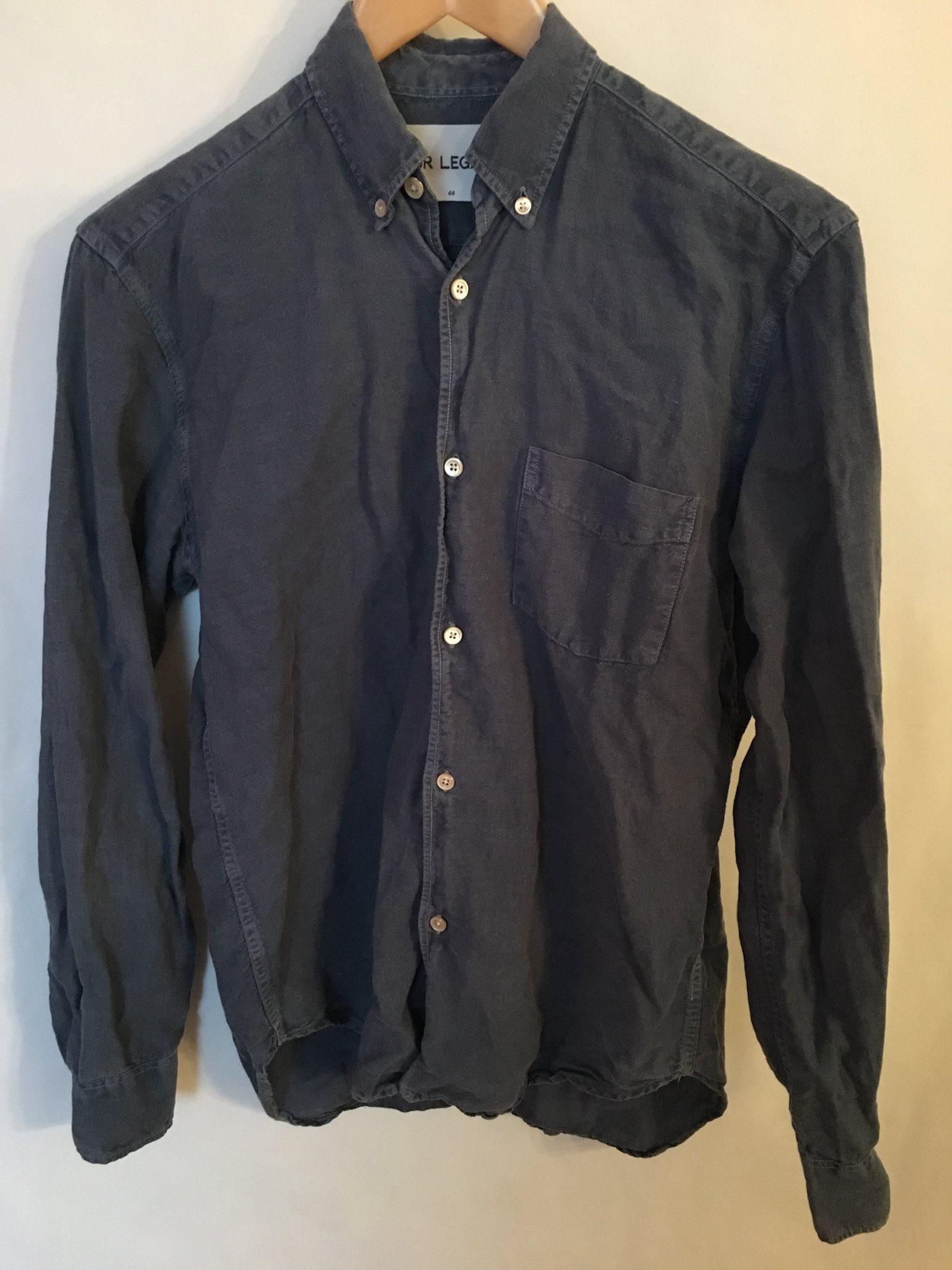 Our Legacy bomull/linne skjorta blå stl 44/XS