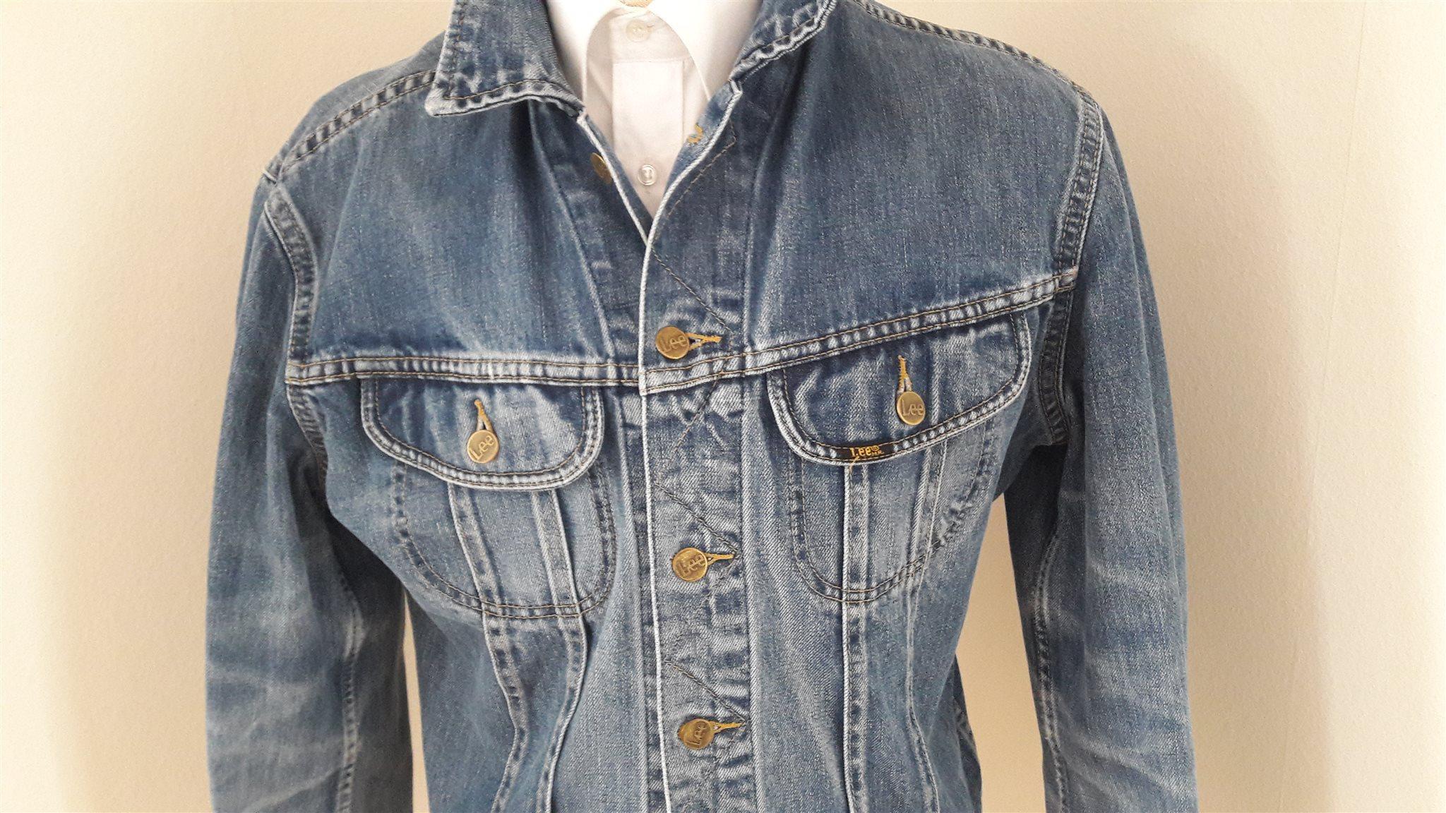 Blå klassisk snygg vintage Lee Slim Jacket USA jeansjacka jeans jacka dam L 3fb21e12cad9e
