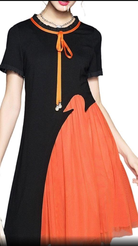 Fantastisk svart & orange klänning med spets, lager, pärlot, str XL