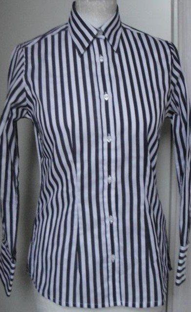 svart vit randig blus