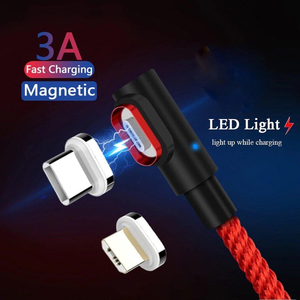 iPhone Laddare Lightning Magnetisk 90 graders 1M Röd