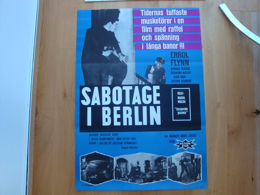 SABOTAGE I BERLIN 70x100 1942 RE-62 Errol Flynn   REA 49 kr