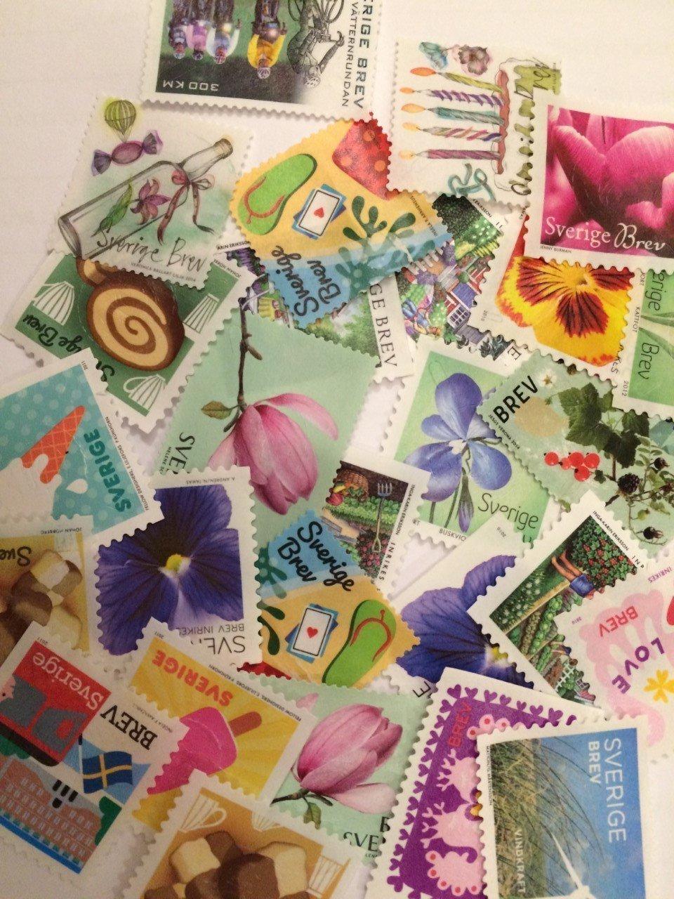 Valörlösa frimärken 100 st - utan stämplar ut.. (455568213) ᐈ