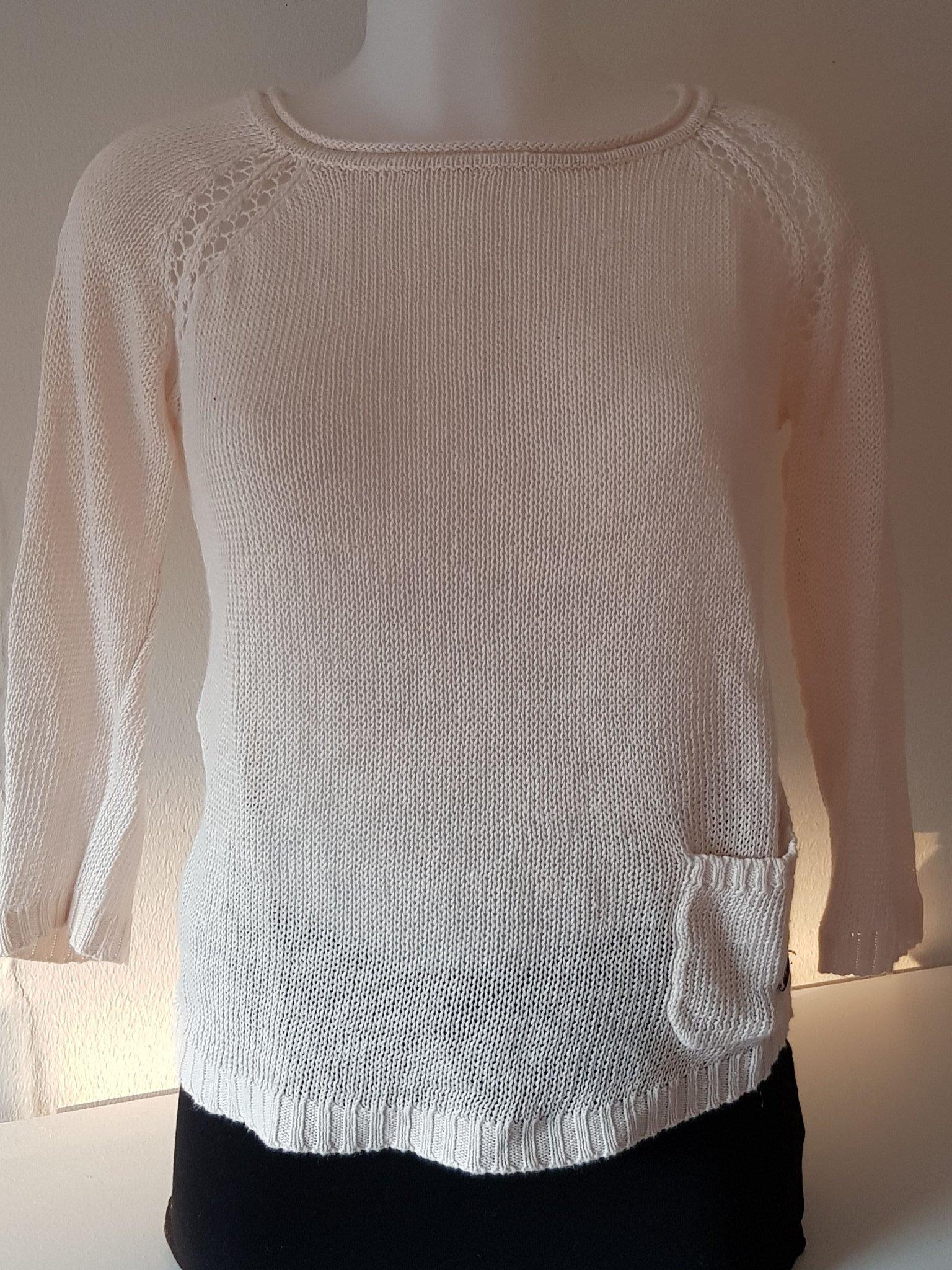 Dobber Stickad tröja cremevit 100% Linne stl. X.. (377622339