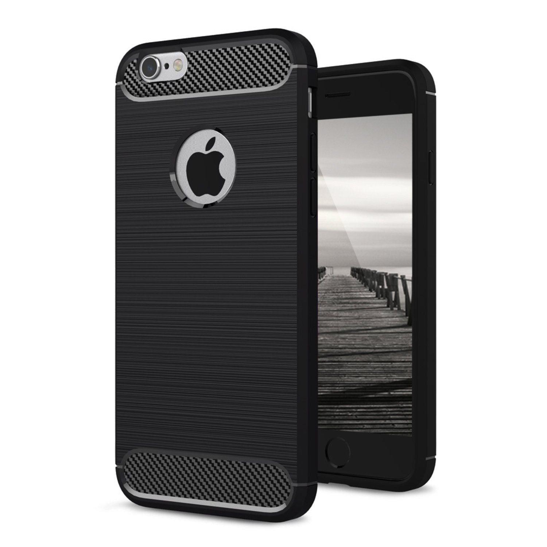 Skal till Apple iPhone 8 Plus Fodral med Pansarglas Armor Kolfiber Skydd  Svart 4670014804da6