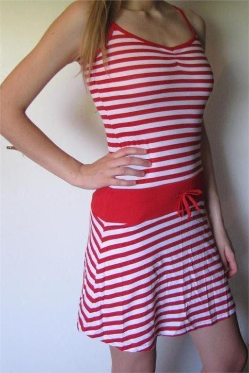 Snygg läcker röd vit randig klänning H&M 34 36 .. (346204936